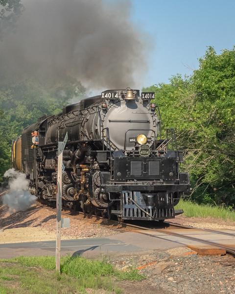 Union Pacific's Big Boy steam locomotive 4014 approaches Lake Elmo, Minnesota