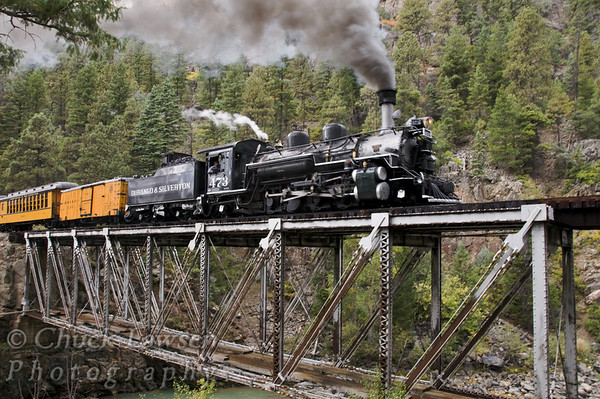 DSRR, CO./Sep. Steam locomotive #473 lumbers across a trestle that spans the Animas River on the journey to Silverton, CO. along the Durango & Silverton RR during autumn.