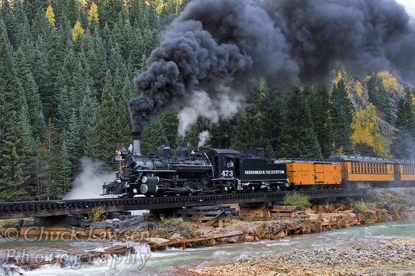 DSRR, CO./Sep. Steam locomotive #473 lumbers across a trestle that spans the Animas River near Silverton, CO. along the Durango & Silverton RR during autumn.