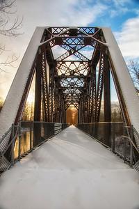 Snowy Bridge Sunrise