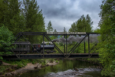 Steam Engine Crossing Trestle Backwards