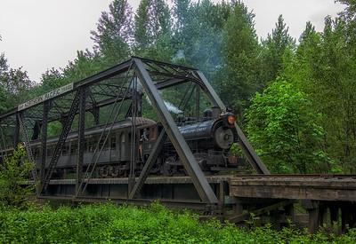 Steam Train Crossing the Trestle