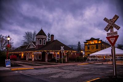 Snoqualmie Depot Christmas Lights Around Sunset December 2015