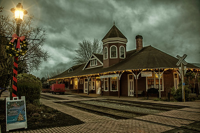 Snoqualmie Depot Christmas Lights HDR