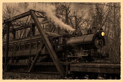 Steam Train Sepia on Bridge