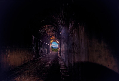 Snoqualmie Tunnel Light at the end looking west 2019 version 8-22-14