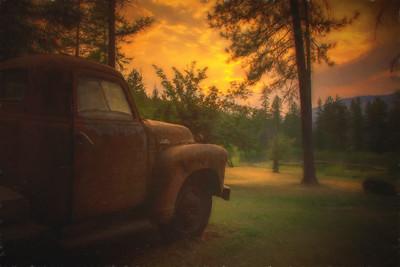 Old GMC Truck Monet Impression Tolson Farm Addy WA Sunset 8-11-18