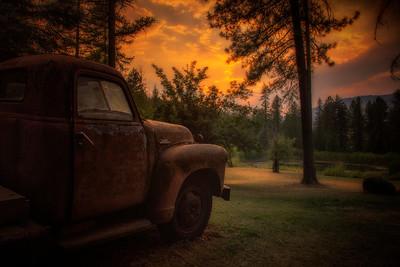 Old GMC Truck Tolson Farm Addy WA Sunset 8-10-18