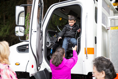 Kids got to explore two Caltrans trucks during Transportation Day at Glen Paul School on Thursday.  (Sam Armanino - The Times-Standard)
