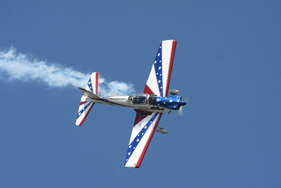 CLEVELAND, OHIO - SEPT. 3:Red, White and Blue stunt plane at the Cleveland National Airshow on Sept. 3, 2011 in Cleveland, Ohio.