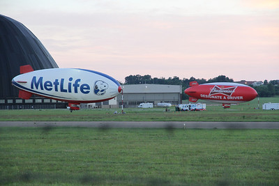 MetLife Snoopy Two and Budweiser Designate A Driver Blimps at the Akron Fulton Airport, Aug. 3, 2013