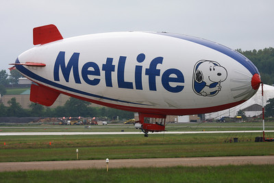 """Metlife blimp """"Snoopy Two"""" at the Akron Fulton Airport, Sept. 2011"""