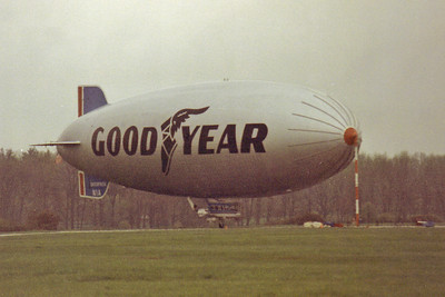 Goodyear Blimp Enterprise in 1988 docked at Wingfoot Lake, Suffield, Ohio