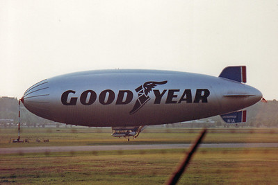 Goodyear Blimp Enterprise in 1988 docked at Akron Fulton Airport