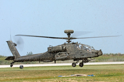 An Apache Longbow helicopter hoving close to the ground at the Cleveland National Airshow on Sept. 6, 2009 in Cleveland, Ohio.