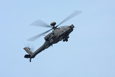 An Apache Longebow attack helicopter flying at the Cleveland National Airshow on Sept. 6, 2009 in Cleveland, Ohio.