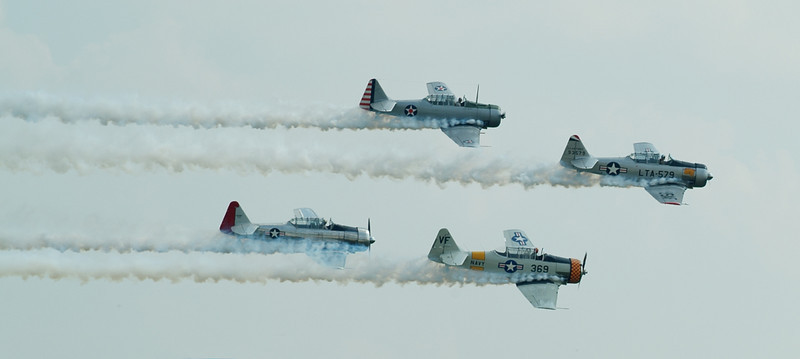 Vintage Warbirds in flight.