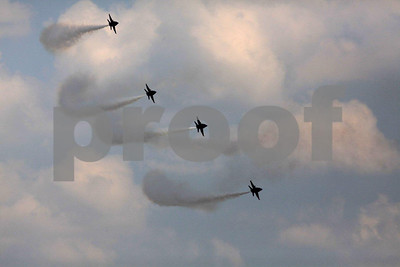The US Navy's six jet plane Blue Angels flying team in the air.