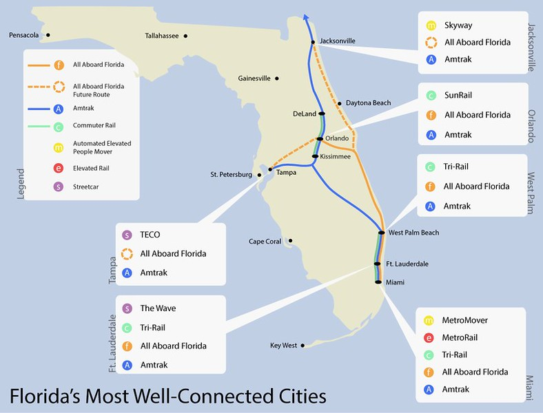 Florida Railroad Map.Privately Funded High Speed Rail Project Nears Finish Modern Cities
