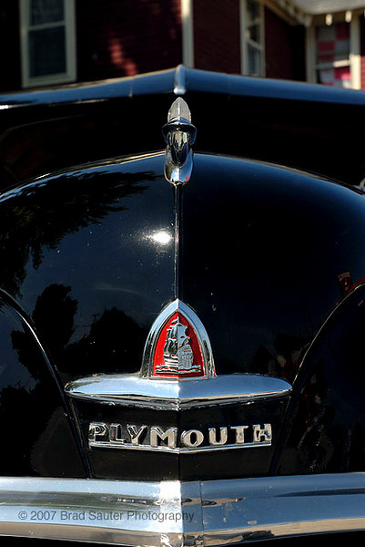 Front of classic 1950's Plymouth Sedan.