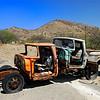 Two pickups abandoned and piggybacked in desert southwest highlands of Arizona, USA