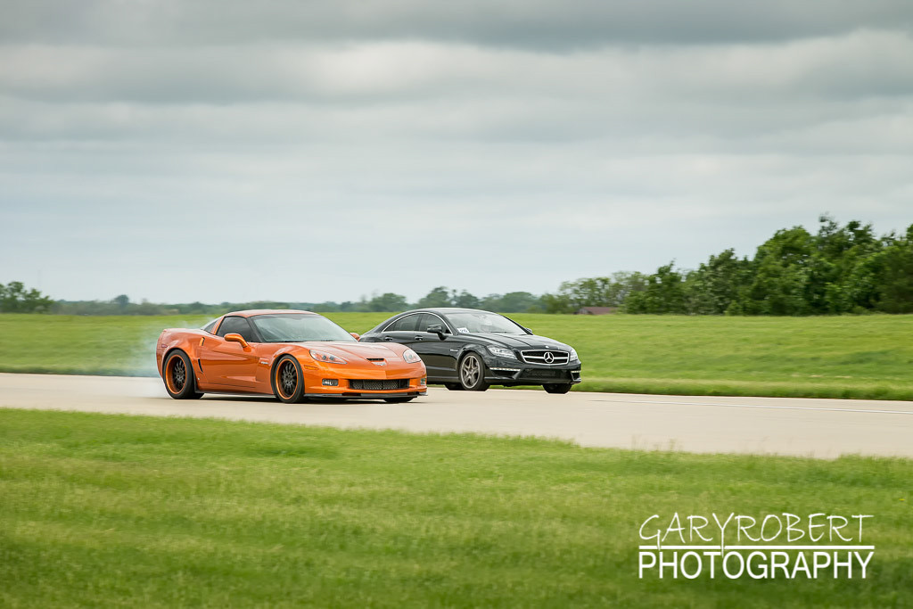 Corvette running the 1/2 mile run at the Chicago WannaGOFAST.com event at the Bult Field Airport in Monee, IL 2013