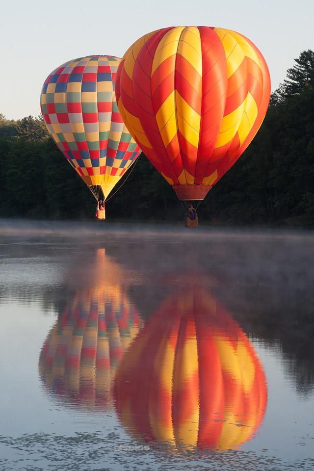 Bright Hot Air Balloons Reflected