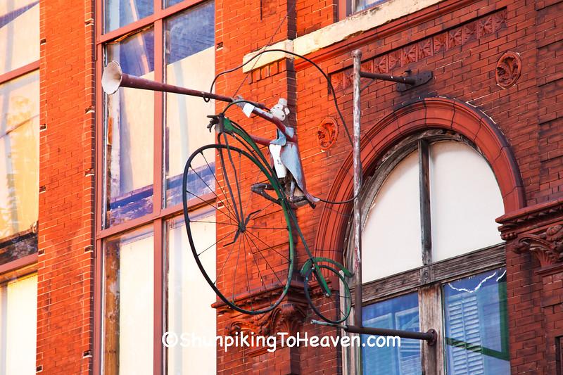 Organ Grinder Monkey on High Wheel Bicycle, Frank Fritz Finds, Savanna, Illinois