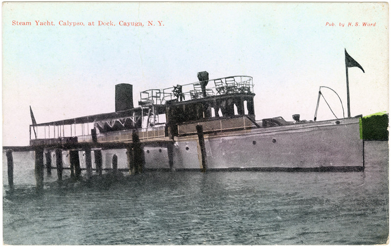 Steam yacht, Calypso, at dock, Cayuga, NY. (Photo ID: 50484)