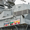 "USS Alabama's campaign ribbons and ""kills."""
