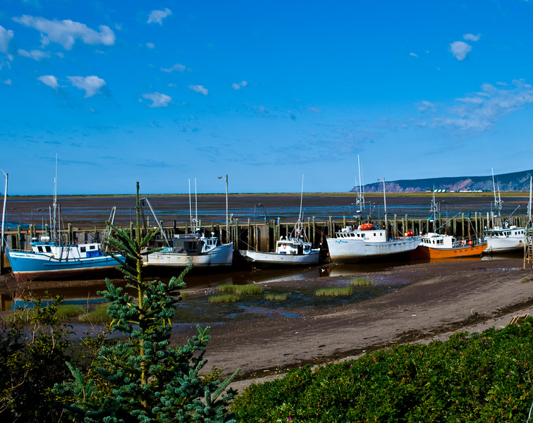 Advocate Harbour, Nova Scotia, on The Bay of Fundy at low tide. The Bay of Fundy is known for having the highest tidal range in the world.(photo by Steve Forrest)