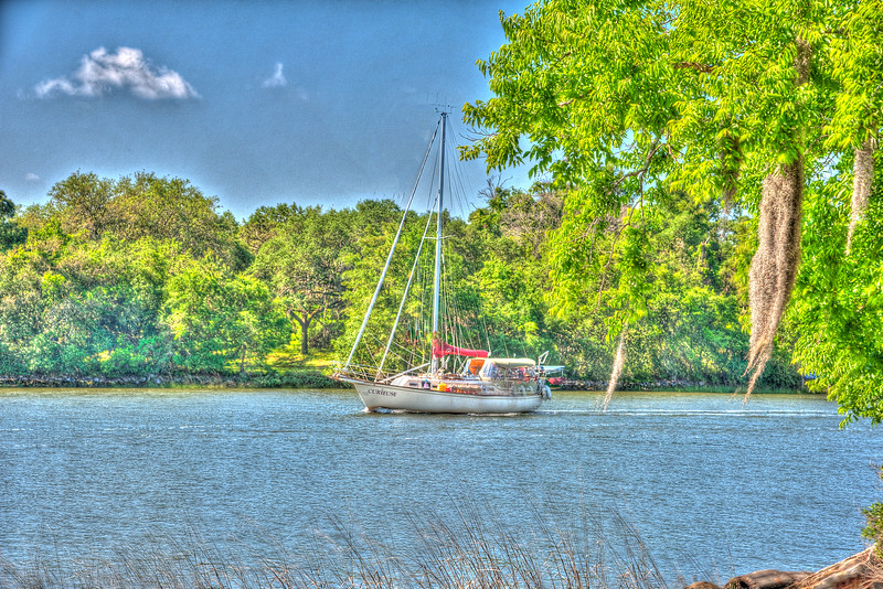 Sailboat Curieuse on Stono River