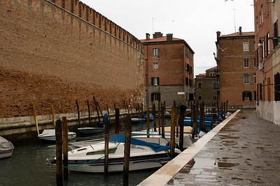 Italy, Venice, Boats and City Wall SNM