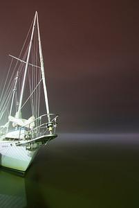 Pamlico Bayview @ night in fog - original