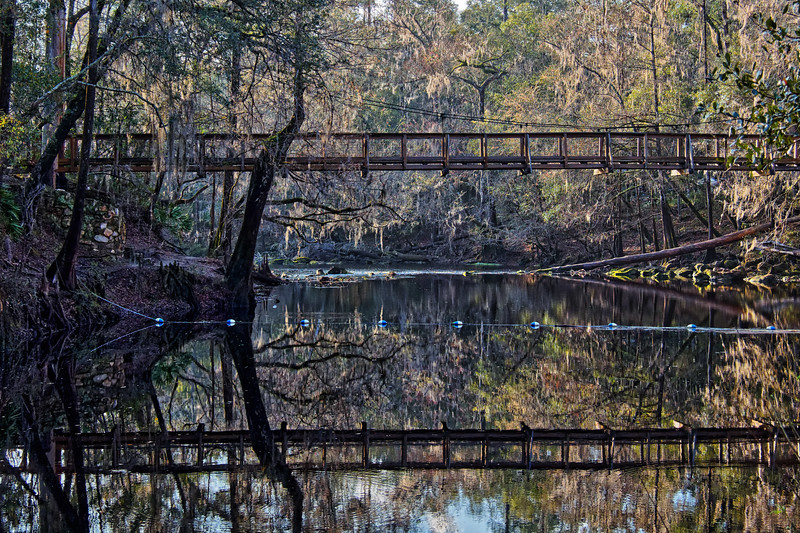 Wooden Suspension Bridge at O'Leno State Park
