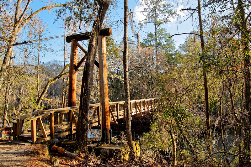 Wooden Suspension Bridge over Santa Fe River