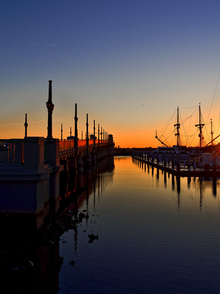 Bridge of Lions from St. Augustine Marina at Sunrise