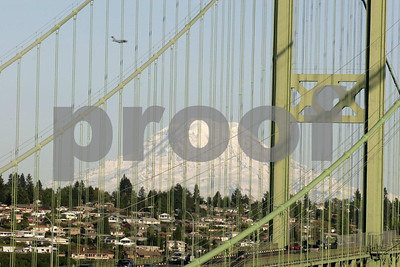 Tacoma Narrows Bridge in Tacoma, Washington with Mt. Rainier in the background.