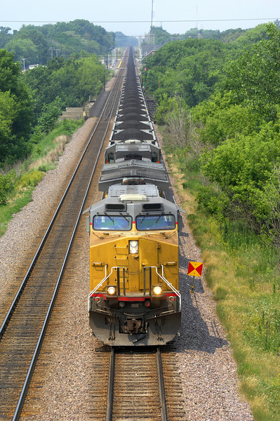 Union Pacific coal train running through St. Charles, Illinois.