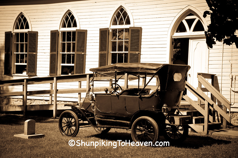 1912 Ford Model T Touring Car Parked by Church
