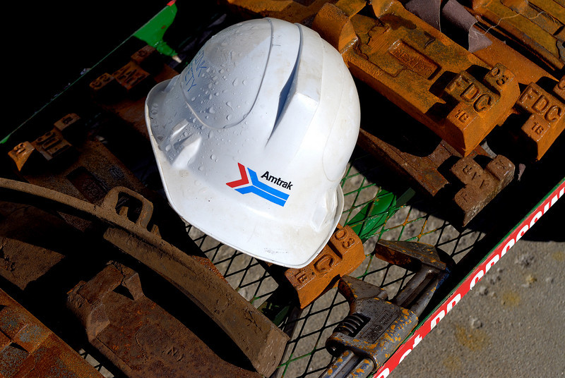Train workers equipment on cart.
