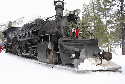 D&SNGRR 481 Polar Express.  Mikado K-36 2-8-2.  Built in 1925 by the Baldwin Locomotive Works.  At Cascade Canyon after the big Christmas winter storm 2015.