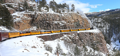 The Polar Express traversing the gorge on the way to Cascade Valley.