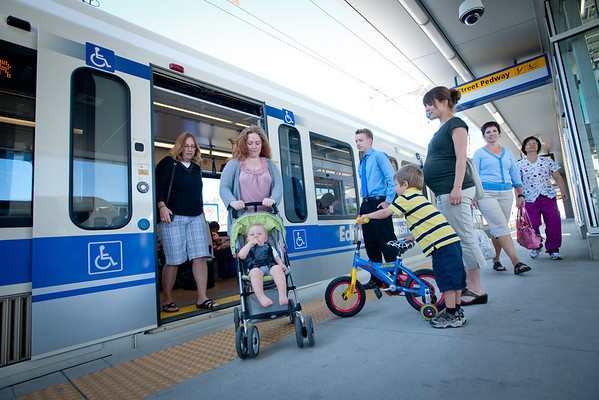 Passengers with strollers boarding