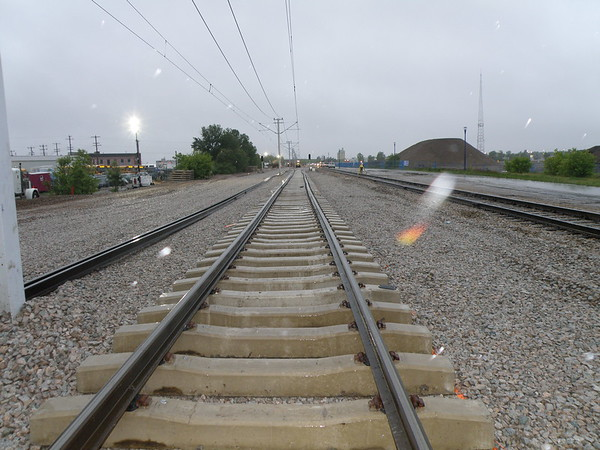 A close up look at the new concrete railway ties along the North Capital Line.