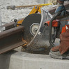 Rails are cut to build joints on the South LRT tracks