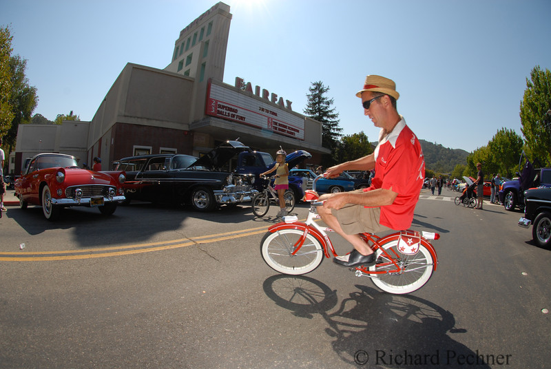 Rudy ridding the Schwinn Spitfire (1950)in front of the Fairfax Theater