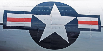 A close up of a US star and stripes aircraft insignis