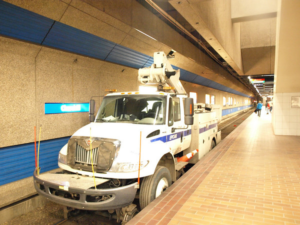 Track maintenance vehicle in Churchill Station