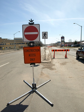 Construction warning signs on Kingsway Avenue